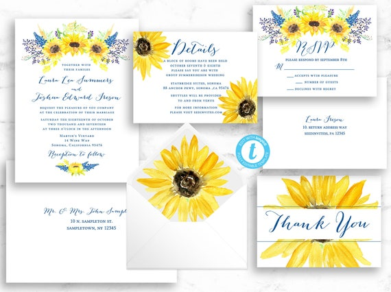SUNFLOWER BUNDLE Wedding Invitation Suite & Envelope Address Set - Printable Template Editable Instant Download Invite