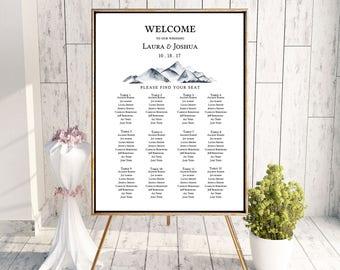 Wedding Seating Chart Sign Poster - Mountain Watercolor - Editable Template - Printable DIY PDF JPEG File - 18x24 or 24x36
