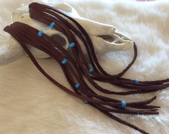 Long Fringed Earrings, Brown Leather Earrings with Fringe and Blue Beads, Boho Leather Earrings,  Deerskin  Fringe Earrings,  Made in Canada