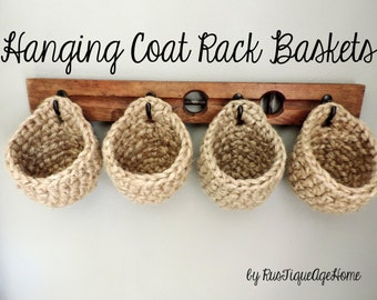 Hanging Wall Baskets Eco Friendly Jute Hook Storage Basket For Closet,  Cabinet, Sturdy Rustic Hanging Pouch, Plant Hanger, Coat Rack Baskets