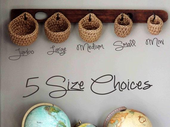 Coat Rack Baskets Wall Storage Chunky Eco Friendly Jute | Etsy