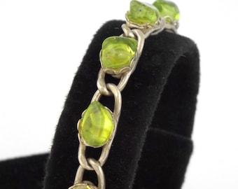 1960s - Vintage Sterling Silver w/ Citrine Nuggets Link Bracelet