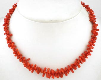 1930-40s - Lovely Art Deco / Vintage Red Coral Branches Necklace
