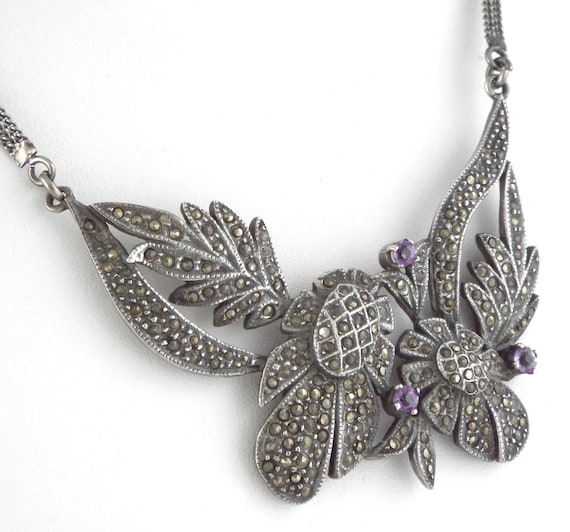1920s - Large Art Deco Sterling Silver Amethysts &