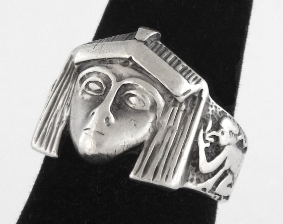 1920s - Rare Art Deco Egyptian Revival Sterling Si