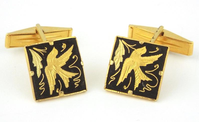 SPAIN Vintage Damascene 24K Gold Inlaid Flying Birds Studs  Cufflinks