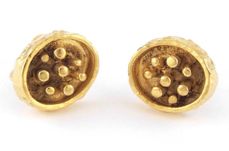 Guy Vidal Vintage Brutalist  SHADOW BOX  Gold Tone Pewter Earrings 1960s