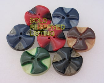 3 Medium antique  vintage sewing buttons neat ones i Art Deco era shell set in celluloid