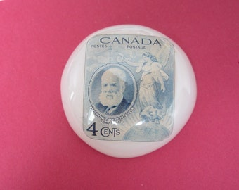 Large Vintage Ben Lang Studio Button - Acrylic - Canadian stamp - Angel & Graham Bell picture