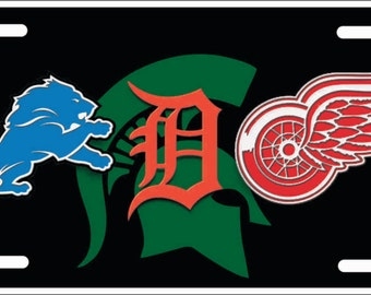 Custom License Plate Chicago Sports Teams Combined Logos