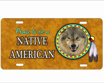 Native Indian Wolf Dream Catcher Front License Plate Cover Metal Vanity Cover Novelty Auto Car Tag