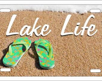 fc53e765097d Lake life flip flops Novelty License Plate decorative aluminum vanity car  tag