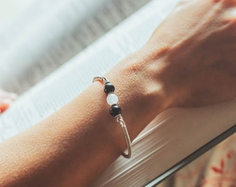 Gemstone Intention Bracelet, Labradorite Rose Quartz Bracelet, Sterling Silver Bracelet, Gift for Her, Stocking Stuffer