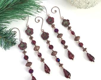Burgandy Glass Ornament Set, Beaded Icicle Ornament Set, Christmas Decor, Hostess Gift