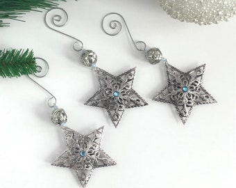 Star Ornament Set, Star Tree Ornament Set, Metal Ornament Set
