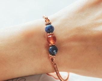 Copper Gemstone Bracelet, Sodalite and Carnelian bracelet, Intention Bracelet, Gift for Her, Graduation gift