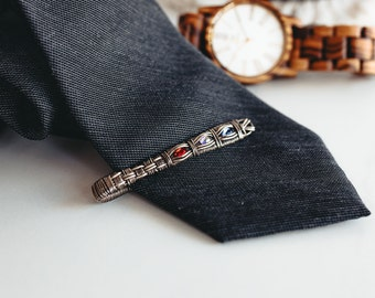 Silver Wire Tie Bar with Birthstone, Silver Tie Clip, Custom Gift for Him, Father's Jewelry, Gift for Dad,