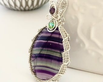 Rainbow Flourite Sterling Silver Wire Wrapped Necklace, Gemstone Pendant Necklace, Gift for Her, One of a kind Gift