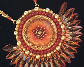 OOAK Rise of the Phoenix bead embroidered necklace