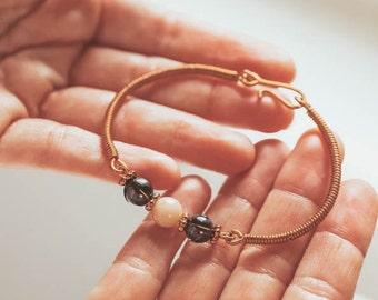 Copper Gemstone Bracelet, Smoky Quartz Peach Moonstone bracelet, Intention Bracelet, Gift for Her, Galentine gift