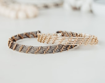 Sterling Silver and 14k Gold Mixed Metal Wire Weave Cuff Bracelets for Women, Girlfriend Gift, Best Friend Gift, Couple Gift,