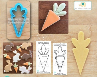 Carrot Cookie Cutter, Easter Cookie Cutter & Piping Bag Cookie Cutter Designed by The Painted Pastry - **Guideline Sketch to Print Below**