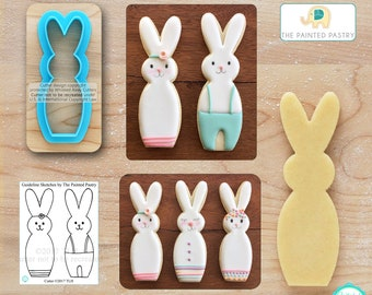 Tall Bunny Cookie Cutter Easter Cookie Cutter & Fondant Cutter Designed by The Painted Pastry - **Guideline Sketch to Print Below**