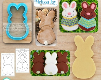 The Joyful Bunny Cookie Cutter Easter Cookie Cutter & Fondant Cutter Designed by Melissa Joy Fanciful Cookies  - **Sketches to Print Below**
