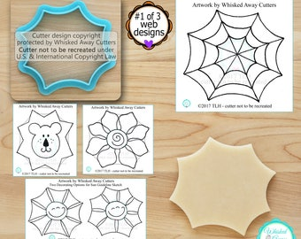 Halloween Web Cutter 1 (1 of 3), Flower, Happy Sun Cutter 1 and Lion Cutter 1 Designed by Whisked Away Cutters - Sketches to Print Below