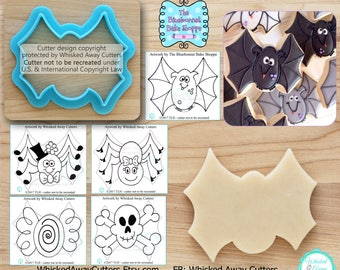 Wonky Bat Cutter, Spider Cutter, Skull Cutter & Candy Cutter Designed by The BlueBonnet Bake Shoppe - **Guideline Sketches to Print Below**