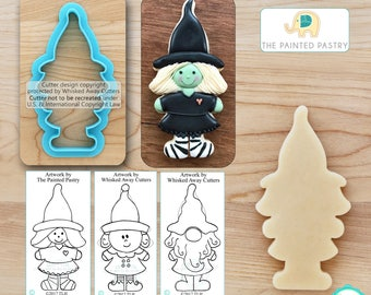 Halloween Witch Cutter, Christmas Elf Cutter & Gnome Cutter Designed by The Painted Pastry - **Guideline Sketches to Print Below**