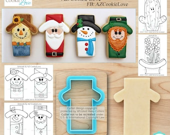 Scarecrow Cutter, Snowman Cutter, Santa Cutter & Leprechaun Cutter - Character Cutter Designed by AZ Cookie Love - *Sketches to Print Below*