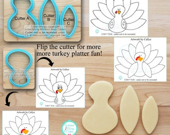 Turkey Platter Cutters  Designed by Callye - Turkey Cutters - Thanksgiving Cutters - *Guideline Sketches to Print Below*