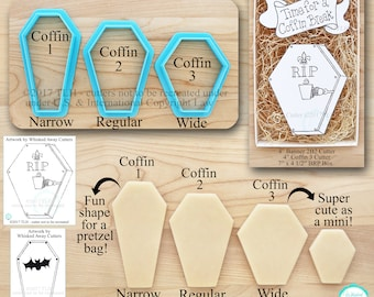Halloween Coffin Cutters in Three Shapes Designed by Whisked Away Cutters - Guideline Sketches to Print Below