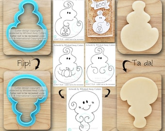 Flip the Ghost Cutter Designed by Whisked Away Cutters, Halloween Cutter- Guideline Sketches to Print Below