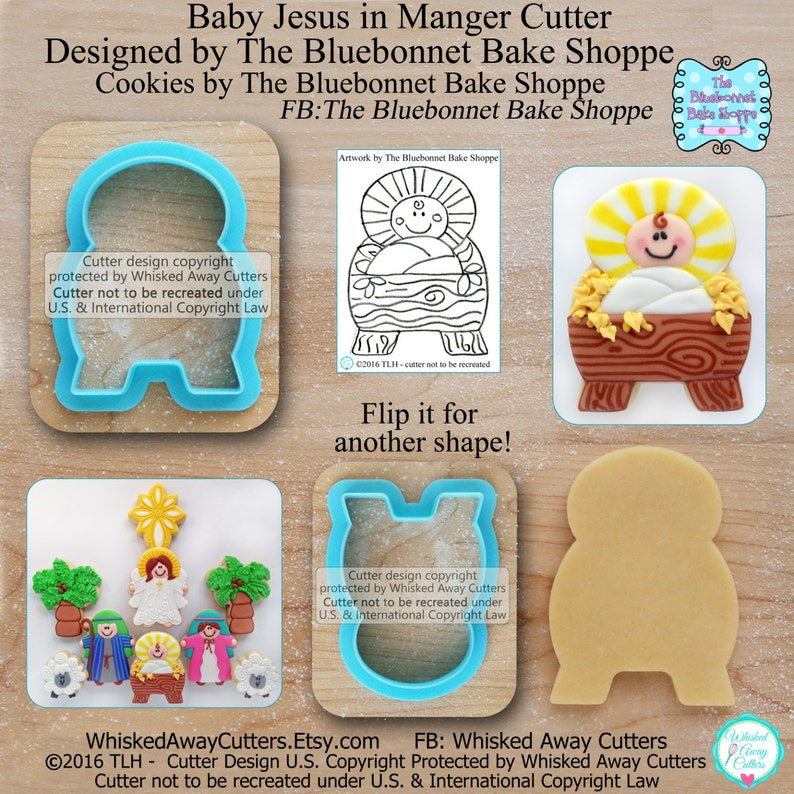 Baby Jesus In Manger Nativity Cookie Cutter Fondant Cutter Designed By The Bluebonnet Bake Shoppe Sketches To Print Below