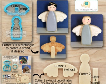 3D Standing Angel Cutters. 3D Angel Cutters. Christmas Cutters Designed by The Painted Pastry