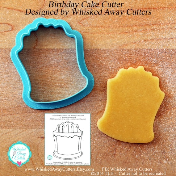 Surprising Birthday Cake Cookie Cutter And Fondant Cutter Guideline Etsy Funny Birthday Cards Online Hendilapandamsfinfo