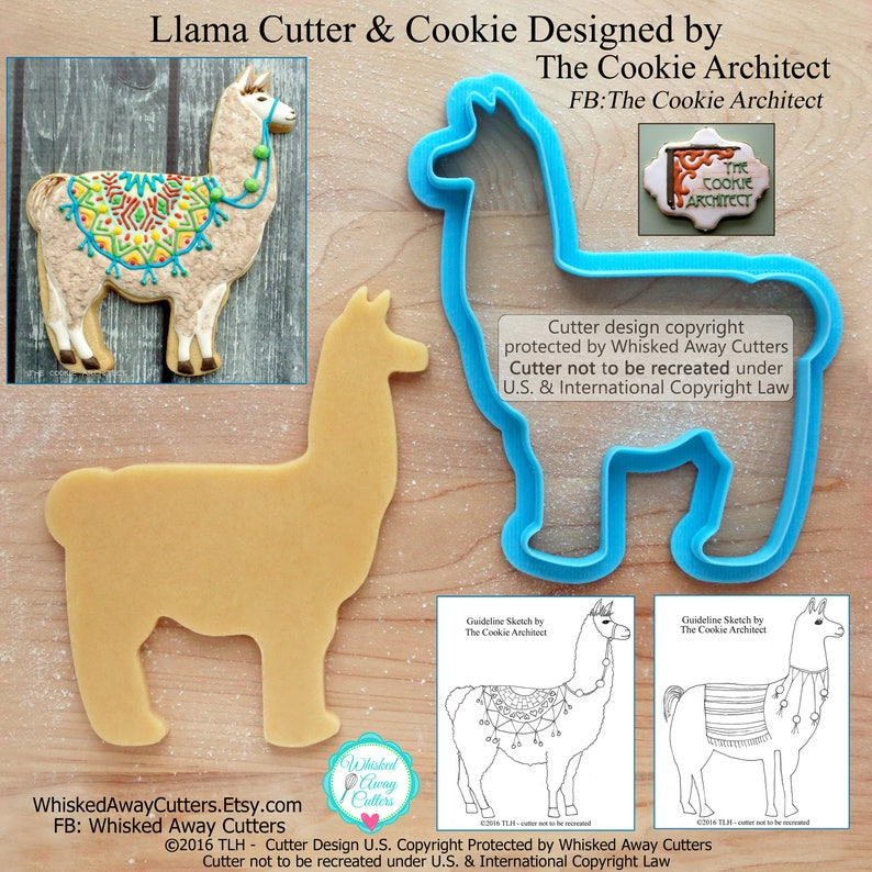 Llama Cookie Cutter and Fondant Cutter by The Cookie Architect image 0