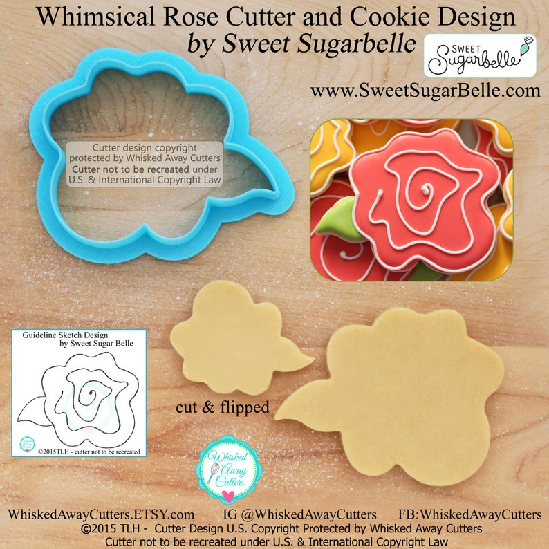 Wonky Rose Cookie Cutter and Fondant Cutter by Sweet Sugar image 0