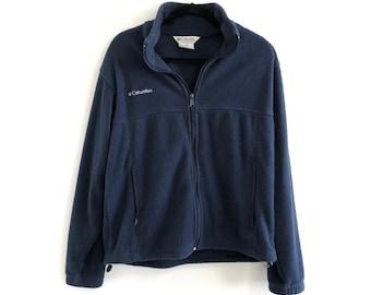 0c6bea32572 1990s Vintage Columbia Fleece Jacket // Vintage 90s Columbia NAVY Fleece  Pullover Coat // Men's Medium // Ski Snow Cold Warm Fleece Jacket