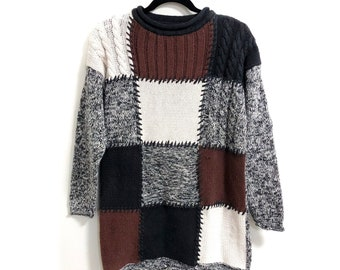 4a9db54a758 1980s Mixit Oversized Hand Knitted Patchwork Sweater    Vintage 80s  Patchwork colorblock Oversized Sweater    Woman s Large