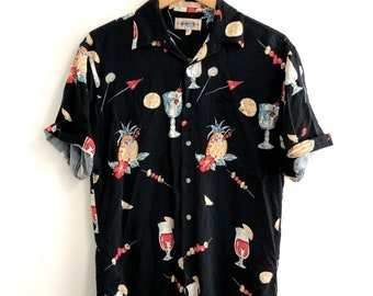 6876b1bb34d0 1990s Cocktail Hawaiian Short Sleeve Shirt // Campis Moss Retro Button Down  // Tropical Vacation Beach Shirt // Men's Small Rayon