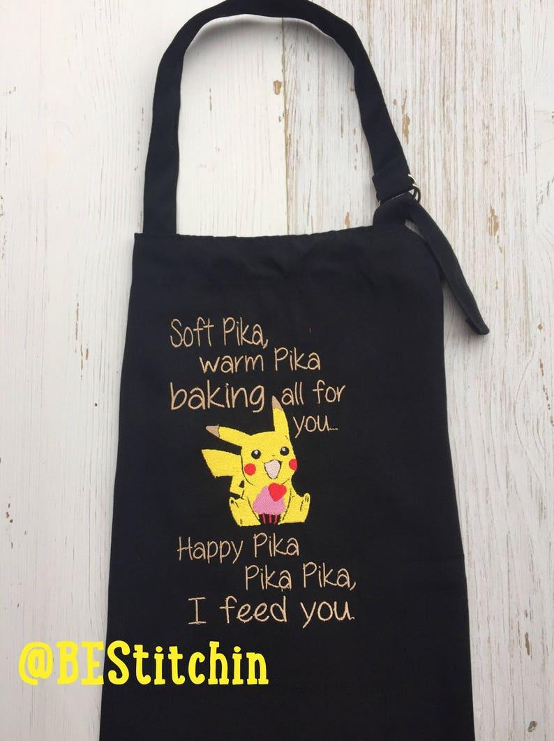 Apron  Pikachu Apron  Embroidered apron  Customization avaliable