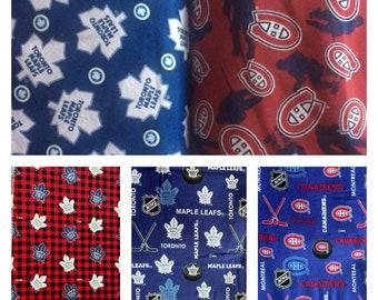 1/2 Yard NHL Fabric Flannel / Toronto Maple Leafs Fabric / Montreal Canadiens Fabric /  Fabric By The Yard