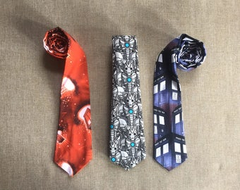 Dr Who Neck Tie, Men's Tie, Boy's Tie, Clip on Tie, Tie up Tie