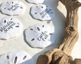 Sand Dollar Beach Place cards with Calligraphy