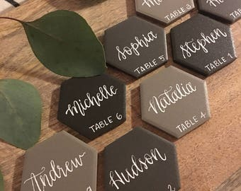 Porcelain Slate Tone Hexagon Tile Place Cards With Calligraphy