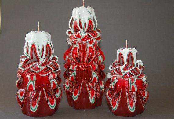 Geschnitzte Kerzen Weihnachten Tabelle Herzstück Kerze | Etsy
