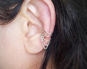 Silver Chain Ear Cuff  Silver plated Chain Ear Wrap